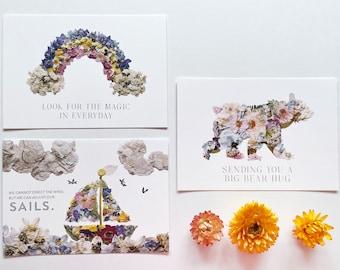 Set of 3 Pressed Flower Art Postcards - Nautical Sailboat, Bear, Rainbow