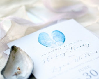 25 - Mussel Shell watercolour painted Wedding Invitation
