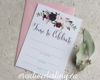 Time to Celebrate, pink burgundy floral design, Set of 12 fill in the blank party invitations