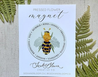Pressed Flower Bee Magnet Design 3 inches