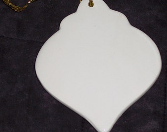6 pack of Porcelain ornaments to finish w/gold ribbon hanger,glazed,onion shape,ornament shape,Christmas,holiday,ready to paint