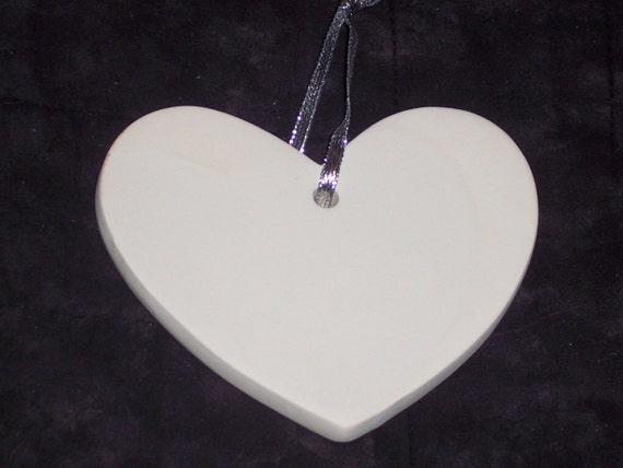 unfinished plaster heart shaped ornaments to finish w silver etsy