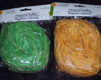 Colored raffia,2 oz balls,green,orange,gift wrapping,crafts,florals,nest,bows,natural package ribbon