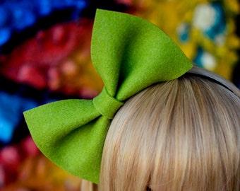 Green oversized bow 5mm silver tone metal headband ChristmasX-masbunnyhair accessoryextra large bigwoodlandolivelimedollycostume
