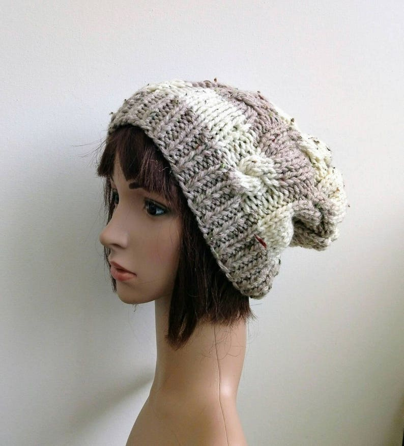 winter hat Ready to ship Chunky Knit Slouchy cable  Beanie hat,Knitted hat Chunky knit hat