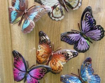 Garden Butterfly Wall Art SET OF SIX Garden Butterfly Ornaments