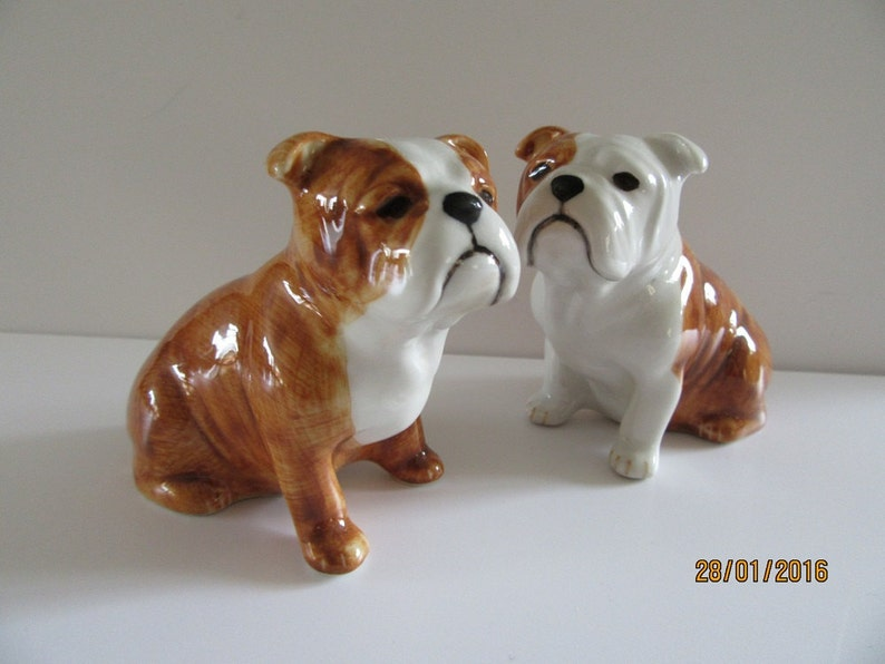 English Bulldog Dog Salt and Pepper Shaker English Bulldog  Dog Salt and Pepper Hand Painted Stunning Supplied Gift Boxed