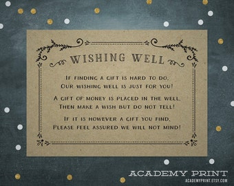 Kraft Wishing Well Card, Wedding Wishing Well, Printable Wedding Insert, Gift Registry Card, Instant Download, In Lieu Of Gift, Gift Insert
