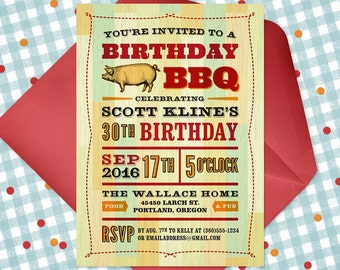 Printable Birthday BBQ Invitation, Birthday Cookout Invite, Birthday Barbecue, Backyard Cookout Invite, Summer Picnic, Country Grill
