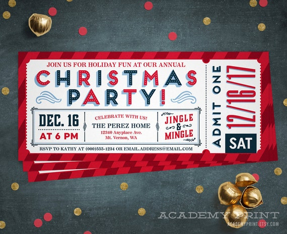 christmas party ticket invitation printable holiday party etsy