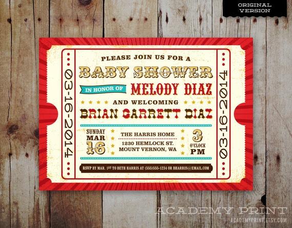 Printable Carnival Baby Shower Invitation Circus Theme Baby Shower Invite Carnival Ticket Invitation Co Ed Baby Shower