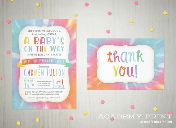 Printable Tie Dye Baby Shower Invitation And Thank You Note Etsy