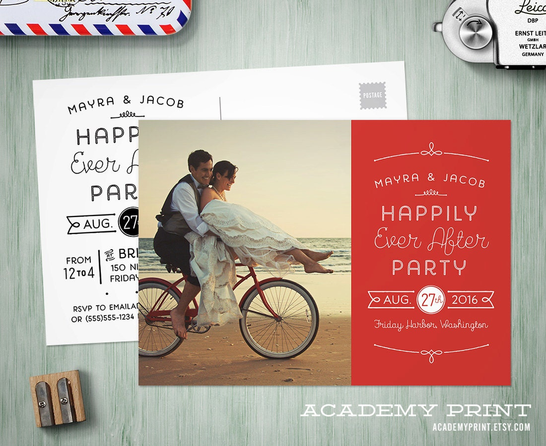 Printable Post Wedding Photo Postcard Invitation Happily Ever | Etsy