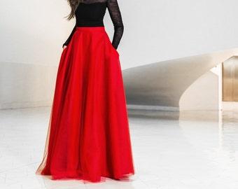 Jupe en tulle maxi avec poches - jupe en tulle jupe - rouge jupe maxi - nouvel an - bal - élégants - party robe - jupe boule - Noël