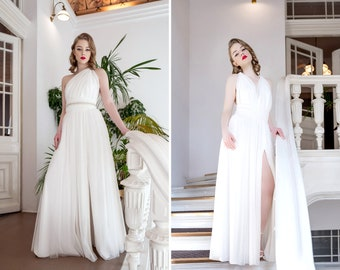 388492857 Luxury tulle infinity dress with a slit, maxi length. Multiway bridal dress.  Convertible wedding gown.