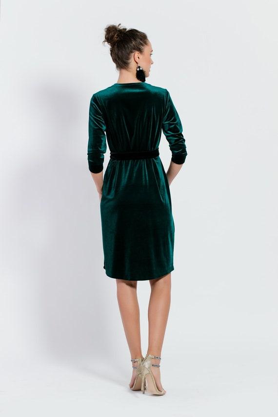 velvet navy blue envelope dress perfect breastfeeding dress vneck dress elegant dress party dress velvet cocktail dress,calf length