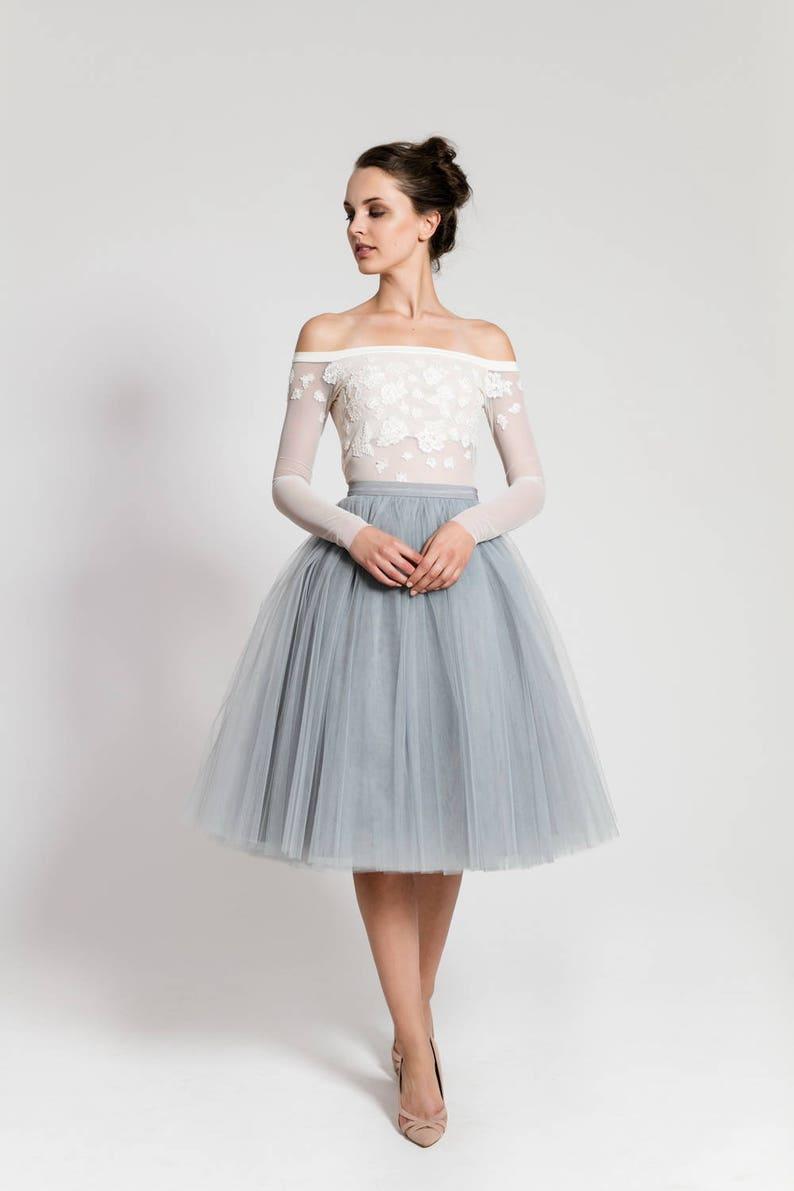 e4435554b3 Midi skirt Grey tulle skirt long skirt petticoat adult | Etsy