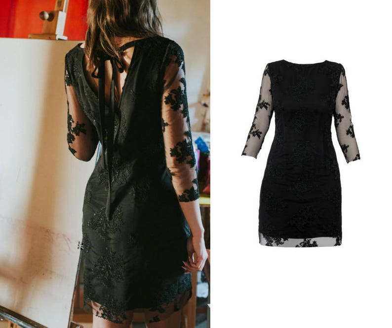 482202e2891e Abito di pizzo abitino vestito nero elegante abito abito