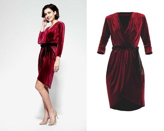 burgundy envelope dress velvet wrap dress casual midi dress v neck dress party dress velvet cocktail dress, calf length