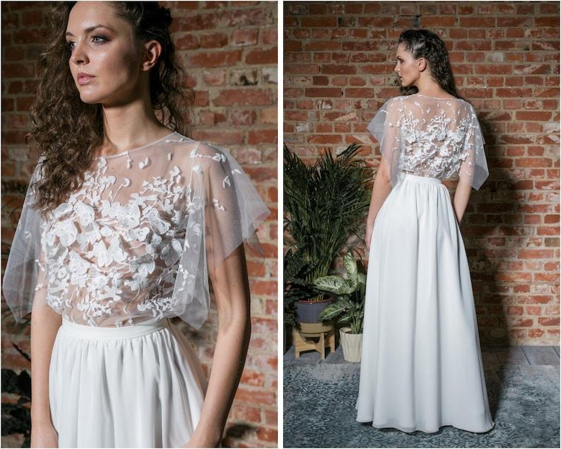 Bruiloft lace blouse met korte mouwen. Ecru Bruidsmode image 1