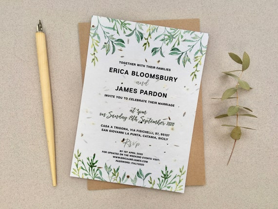 Sample Plantable Wedding Invitations Olive Grove With Etsy