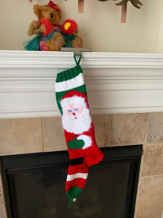 Personalized Hand-knitted Full Santa Christmas Stocking