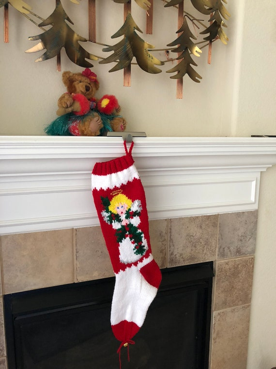 Hand Knitted ANGEL WITH HOLLY Christmas Stocking