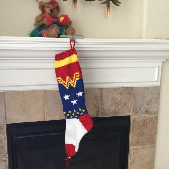 Hand Knitted WONDER WOMAN Christmas Stocking