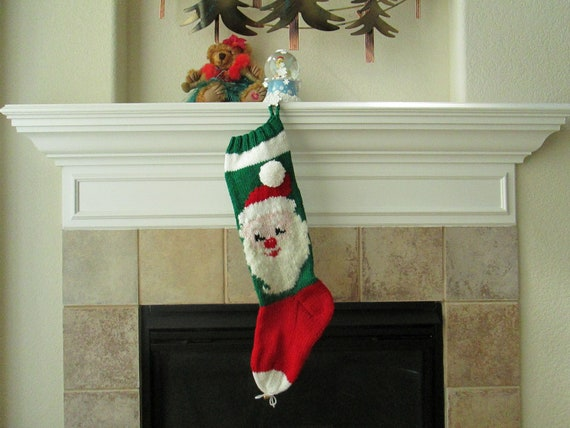 Hand Knitted SANTA CLAUS Christmas Stocking