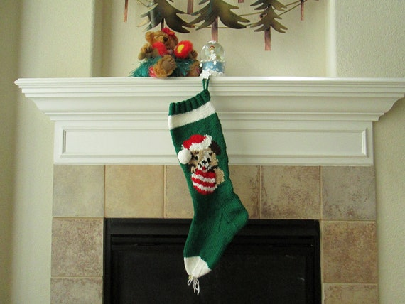 Personalized Hand-Knitted PUPPY LOVE Christmas Stocking
