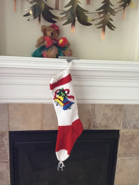 Hand Knitted BELLS Christmas Stocking