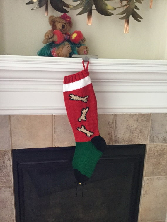 Personalized Hand-knitted DOGGY BONE Christmas Stocking