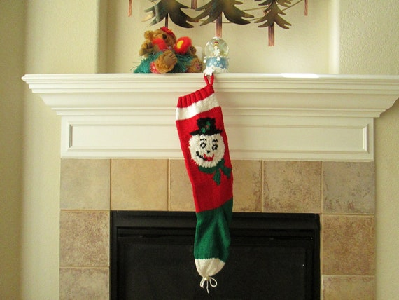 Personalized Hand-Knitted SNOWMAN Christmas Stocking