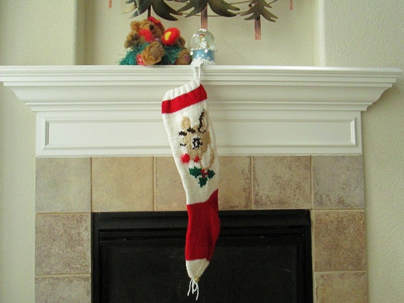 Personalized Hand-Knitted RUDOLPH Christmas Stocking