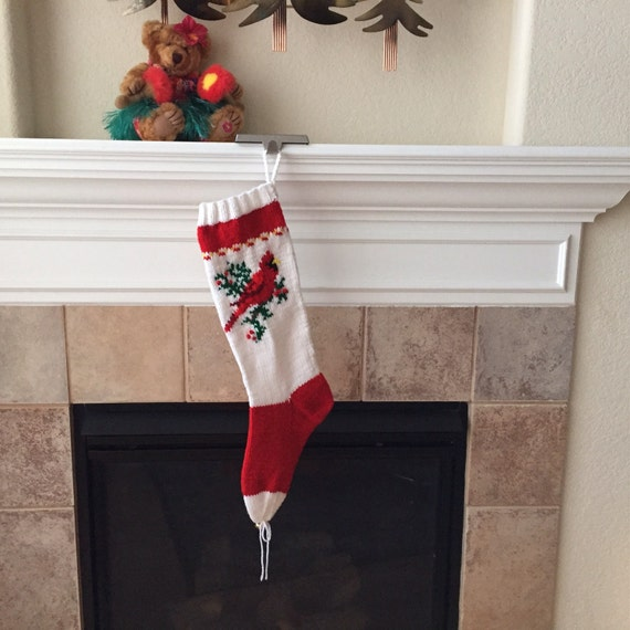 Hand Knitted CARDINAL Christmas Stocking