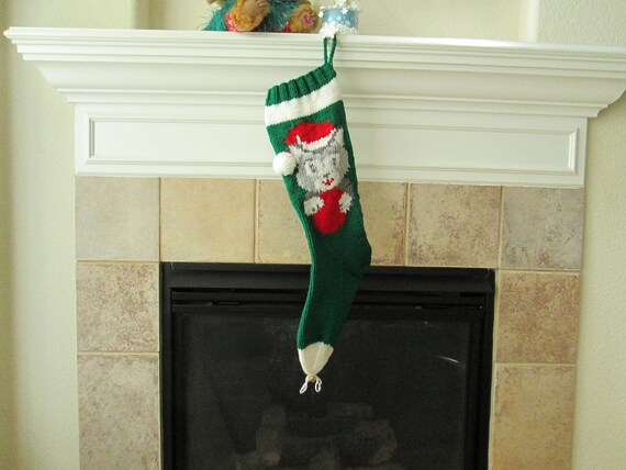 Personalized Hand-Knitted KITTEN Christmas Stocking