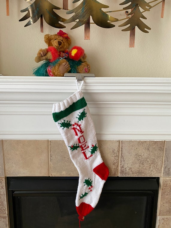 Personalized Hand-Knitted Christmas Stocking with NOEL Message