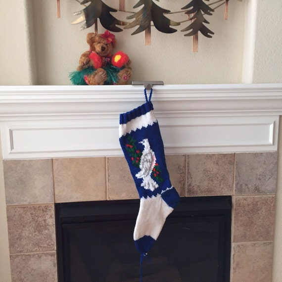 Hand Knitted DOVE Christmas Stocking