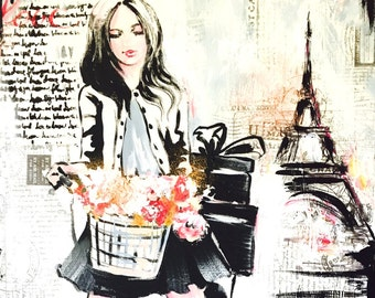 Parisienne Original Painting on Canvas, Wanderlust by Lana Moes, Large Art, Ready to Hang, Romantic Decor, Parisian Decor, Art Collector