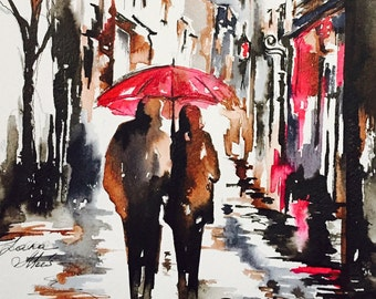 Romantic Paris Painting, Red Umbrella Original Watercolor, Travel Paris Art, Romantic Wanderlust, Romantic Bliss Collection by Lana Moes