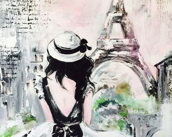 Original Painting Series of Wanderlust by Lana Moes, Fine Art, Ready to Hang, Love, Paris, Romantic Decor, Parisian Decor, Art Collector
