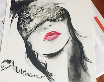 Art Print from Romantic Bliss Watercolor - Edgy Fashion Print - Fashion Illustration by Lana Moes - Painting of Girl - Bedroom Decor