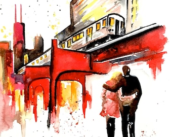 Chicago Travel Watercolor Illustration by Lana Moes - Windy City Cityscape - Romantic Bliss Collection - Art Print