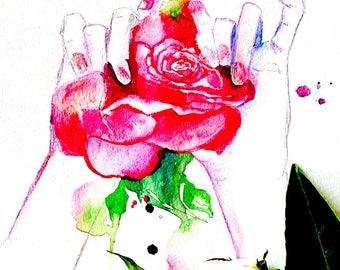 Rose Love Watercolor Art Print, Contemporary Wall Art, Fine Art, Travel Illustration by Lana Moes, Wanderlust, Romantic Decor, Rose Painting