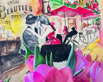 Italy Original Watercolor Painting, Romantic Travel Illustration by Lana Moes, Wanderlust, Roman Holiday, Romantic Bliss, Vacation Mementos