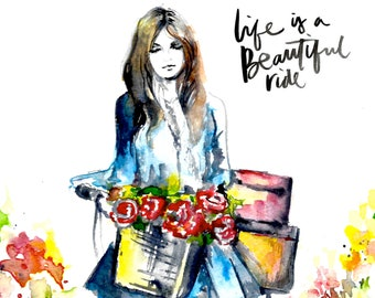 Life is a Beautiful Ride, Ride Poster, Flowers Girl Watercolor, Romantic Retro Travel Painting by Lana Moes, Wanderlust Travel Lovers Gift,