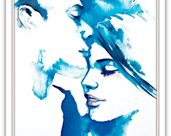 Tiffany Love Romance Kiss Print, Original Watercolor Painting by Lana Moes, Romantic Bliss, Blue Decor, Love Poster, Valentine's Gift