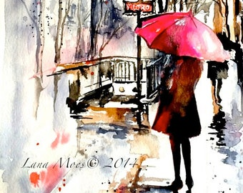 Paris Travel Red Umbrella Watercolor Illustration - Parisian Girl - Lana Moes' Art - Wanderlust Paris - Romantic Parisian Decor - Paris Art