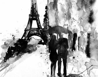 Romantic Paris Art, Parisian Vacation, Paris Watercolor Painting, Paris Wanderlust, Romantic Couples with Umbrella, Paris Art Print