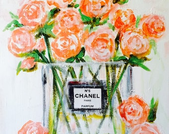 Flowers in Chanel, Art Print on Canvas, Fashion Wall Art,  Fashion Illustration by Lana Moes, Chanel Inspired Art, Large Wall Art